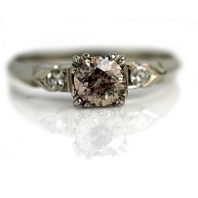 Prong Set Fancy Brown Diamond Engagement Ring - Vintage Diamond Ring