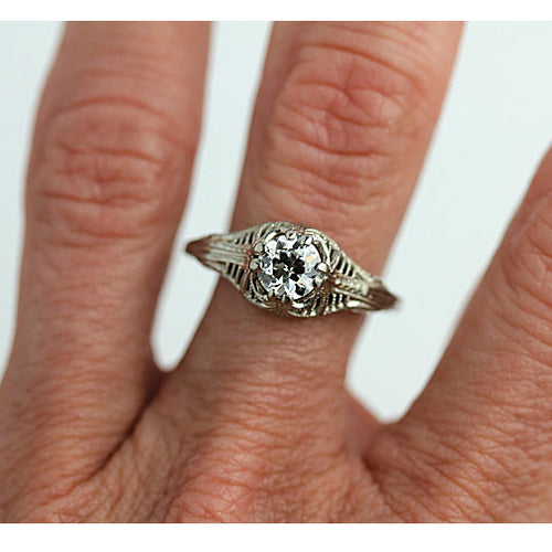 Antique Intricate Diamond Engagement Ring with Filigree Engravings