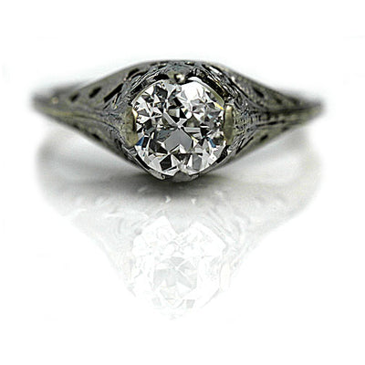 Art Deco 1.02 ct Solitaire Diamond Engagement RIng