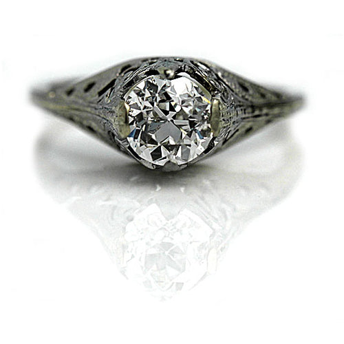 1.02 Carat GIA Art Deco Diamond Engagement RIng