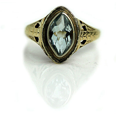 Bezel Set Navette Aquamarine Engagement Ring - Vintage Diamond Ring