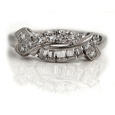 Vintage Crossover Platinum Diamond Wedding Band