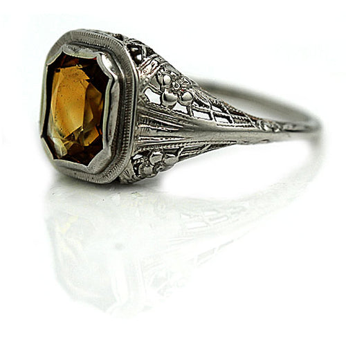 Bezel Set Citrine Floral Engagement Ring