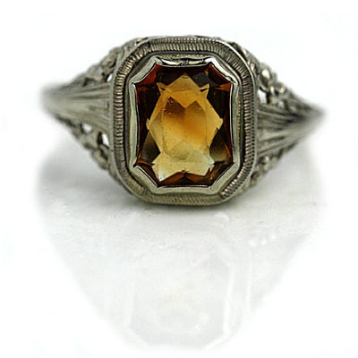 Vintage Bezel Set Citrine Engagement Ring - Vintage Diamond Ring
