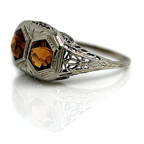 Art Deco Twin Citrine Engagement Ring