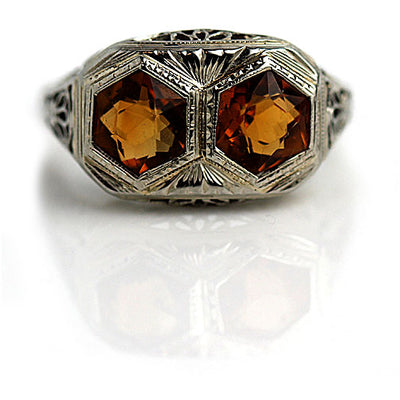 Art Deco Twin Citrine Engagement Ring - Vintage Diamond Ring