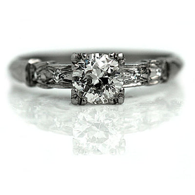 Platinum Engraved Mine Cut Solitaire Engagement Ring