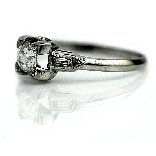 .40 Ct European Cut Engagement Ring with Baguettes