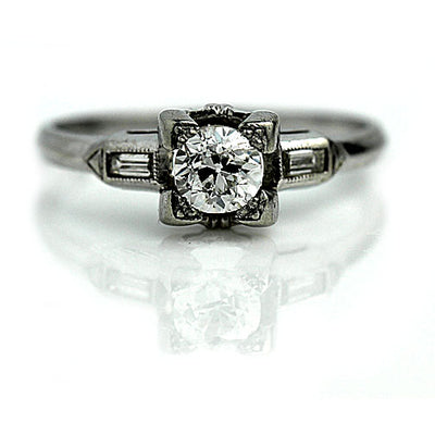 European Cut & Baguette Diamond Engagement Ring Circa 1930s