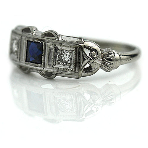 Art Deco Sapphire Diamond Wedding Ring