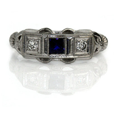 Art Deco Sapphire & Diamond Wedding Ring - Vintage Diamond Ring