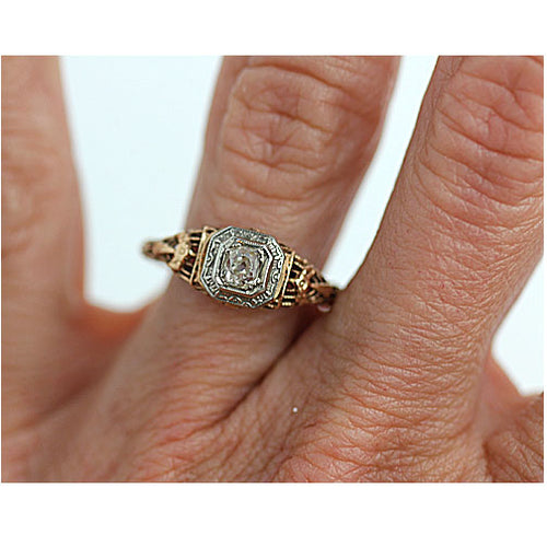Victorian Two Tone Hexagon Engagement Ring