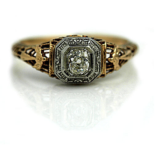 .25 Carat Victorian Engagement Two Tone Ring