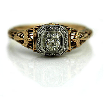Victorian Mine Cut Diamond Engagement Ring