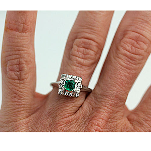 Mid-Century .45 Emerald Diamond Platinum Ring