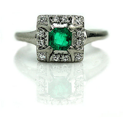 Vintage Emerald & Diamond Halo Engagement Ring - Vintage Diamond Ring