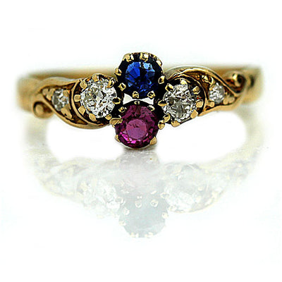 Art Nouveau Sapphire & Mine Cut Diamond Engagement Ring
