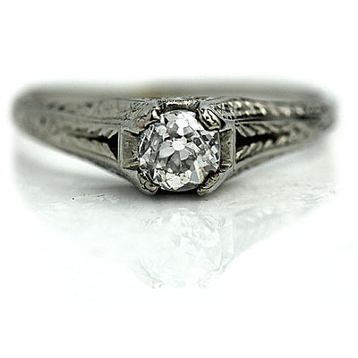 Vintage Mine Cut Solitaire Diamond Engagement Ring