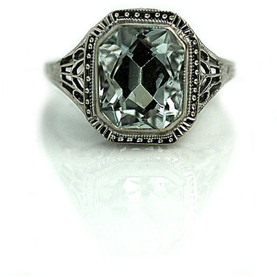 Bezel Set Aquamarine Engagement Ring