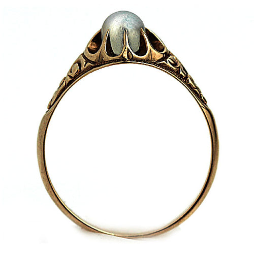 Moonstone Engagement Ring with Engraved Band
