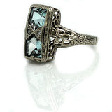 North South Kite Shape Aquamarine Ring