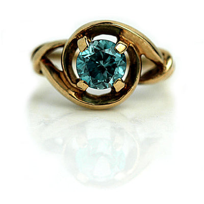 Vintage Blue Zircon Ring - Vintage Diamond Ring