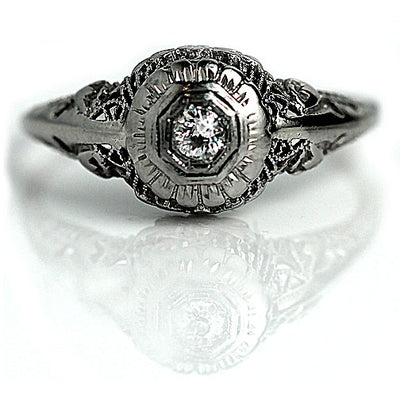 Floral White Gold Diamond Engagement Ring