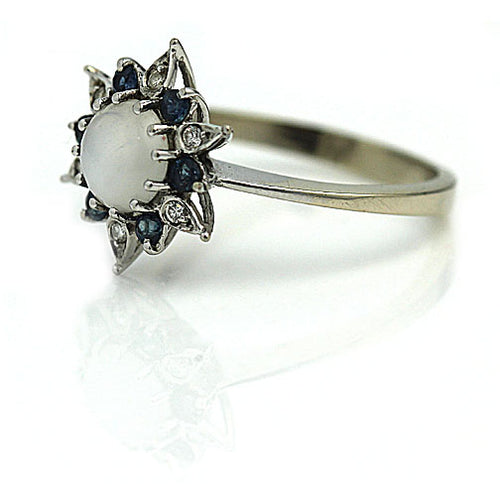 Moonstone & Sapphire Diamond Halo Engagement Ring
