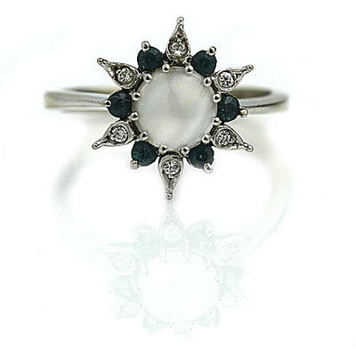 Moonstone & Sapphire Diamond Halo Engagement Ring - Vintage Diamond Ring