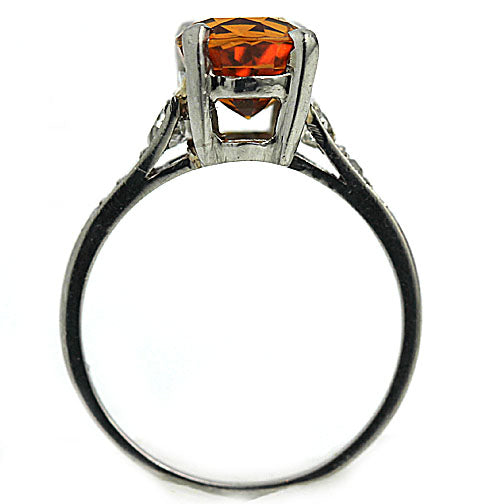 Orange Sapphire & Diamond Engagement Ring