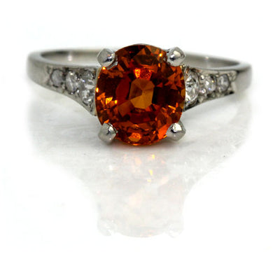 Vintage Orange Sapphire & Diamond Engagement Ring - Vintage Diamond Ring