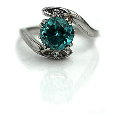 1960s Vintage Blue Zircon Engagement Ring - Vintage Diamond Ring