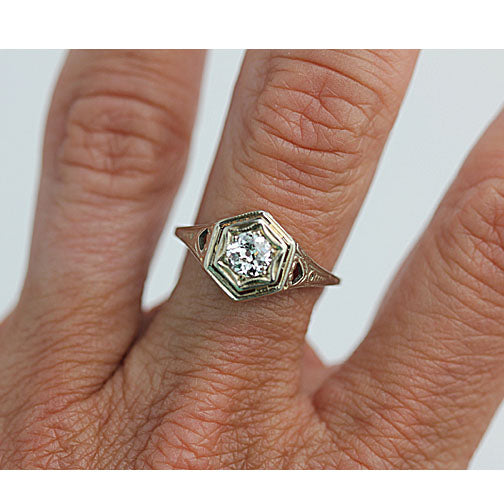 Art Nouveau Engagement Ring With Heart Filigree Shoulders