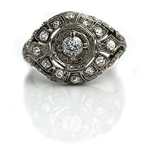 Art Deco .30 Carat Diamond Platinum Dome Ring