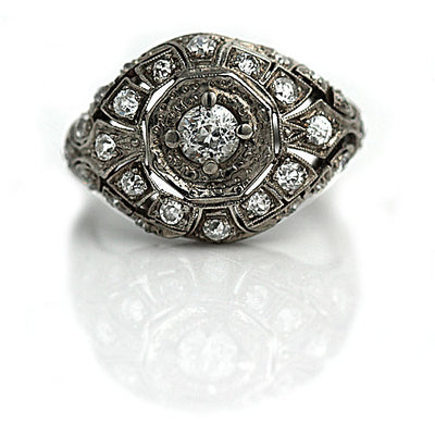 Antique Two Tiered Platinum Dome Engagement Ring