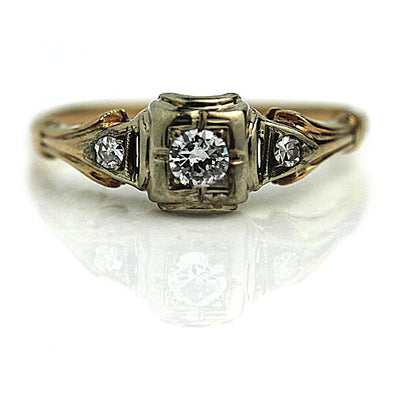 1940s Diamond Engagement Ring with Filigree Tapered Band