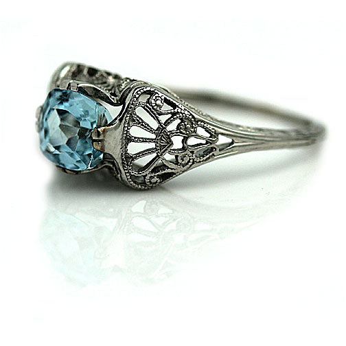 Art Deco Aquamarine Ring 1.25 Carat