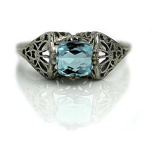 Square Cushion Cut Aquamarine Engagement Ring