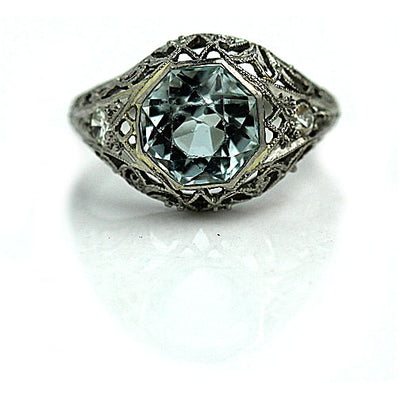 2.25 ct Octagon Set Aquamarine Engagement Ring - Vintage Diamond Ring