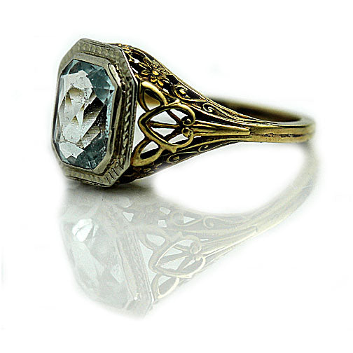 2.50 Carat Aquamarine Art Deco Ring