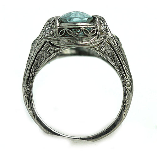 Art Deco Oval Cut Aquamarine Engagement Ring