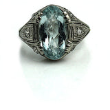 3.50 Carat Art Deco Oval Cut Aquamarine Ring