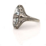 Art Deco 2.00 Carat Twin Aquamarine Ring