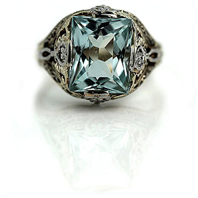 4.00 Carat Solitaire Aquamarine Engagement Ring - Vintage Diamond Ring