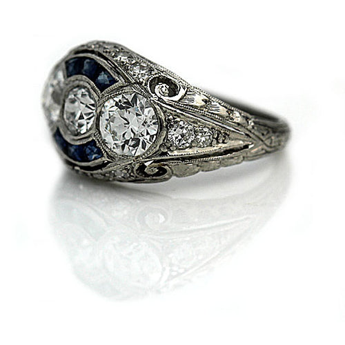 Art Deco Diamond Sapphire Platinum Ring