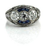 Diamond & Sapphire Three Stone Engagement Ring