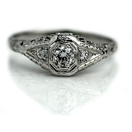 Octagon Art Deco Engagement Ring with Side Stones