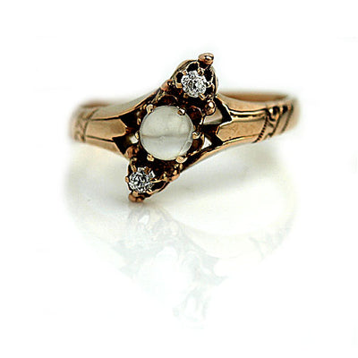 Victorian Moonstone and Mine Cut Diamond Rose Gold Ring - Vintage Diamond Ring
