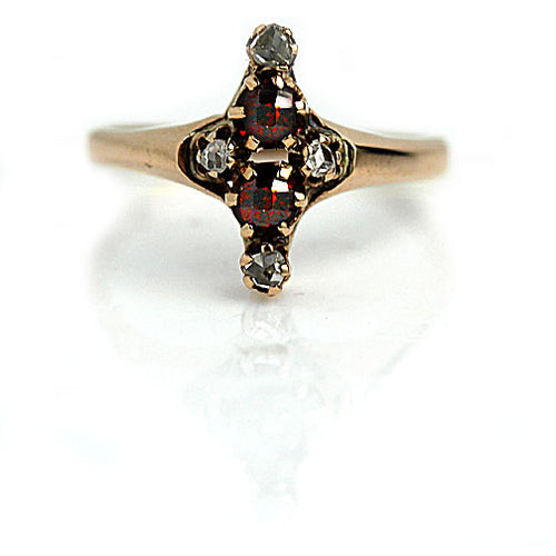 Mid Century Garnet Rose Cut Diamond Ring