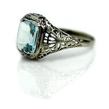 2.20 Carat Aquamarine Art Deco Ring